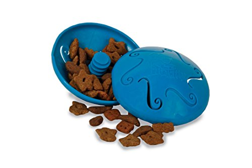 PetSafe Snackball, Funkitty Twist 'n Treat Futterball für Katzen und Kätzchen, Katzenspielzeug blau, gegen Übergewicht, interaktiv für mehr Fitness, für Trockenfutter und Leckerlies, spülmaschinenfest