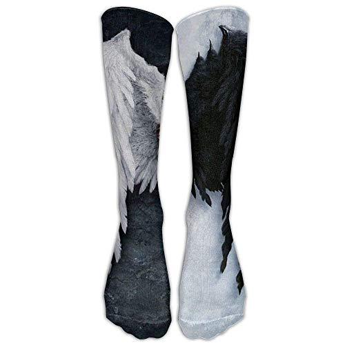 (Angel Wings Cotton Tie Dye Compression Knee Socks Fashion Athletic Adults Cartoon Knee Long Tube Crew Socks)