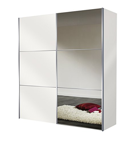 Express Möbel Kleiderschrank Schlafzimmerschrank Weiß 200 cm mit Spiegel, 2-türig, BxHxT 200x216x68 cm, Art Nr. 01590-182