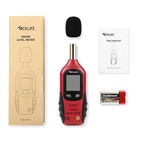Schallpegelmessgerät, Tacklife SLM01 Klassischer Schallpegelmesser, Lärm Messgerät Datenspeicherfunktion Abschaltautomatik 40~130 dB Rot, LCD-Anzeige, Hintergrundbeleuchtung, 9 V Batterie Enthalten - 7