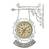 SMAQZ Vintage Orologio da Parete A Doppia Faccia in Ferro Battuto Europeo Creativo Orologio al Quarzo Soggiorno Tavolo da Giardino Muto Orologio Decorazione Orologio Casa