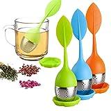 Xelparuc Tee-Ei mit losem Blatt – Silikon-Griff, Tee-Ei aus Edelstahl, Teesieb für Teekanne, Tasse – losen Tee – Tee-Diffuser für losen Tee, Fenchel-Tee, Kräutertee, 3 Set – Grün/Blau/Orange