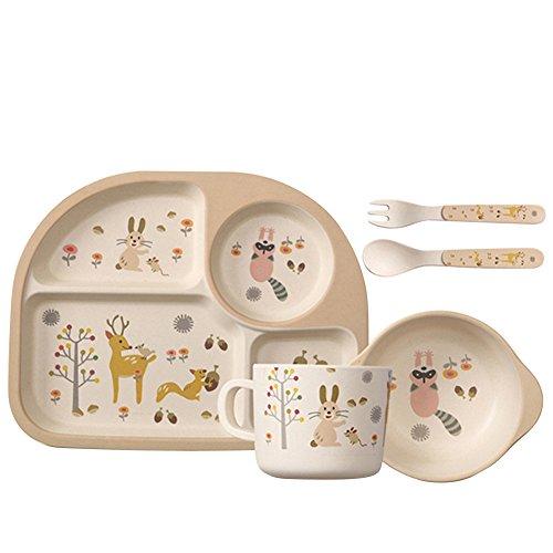 Samber Service de Table Enfant 5 Pièces Ensemble de Vaisselle Set Repas Assiette Bambou Bébé Bol Fourchette (Marron)