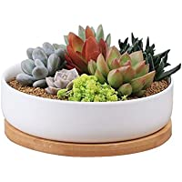 Macetas de cerámica Y&M(TM) para flores, blanca, rectangular, con base de bambú, Round