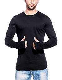 T Shirts For Man Black Full Sleeve Thumb-hole Round Neck Cotton T-Shirt