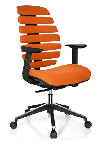Orange Stoff Mit Einem Ergonomischen Stuhl (hjh OFFICE 714520 Profi Bürostuhl ERGO LINE II Stoff Orange ergonomischer Drehstuhl, inkl. Lordosenstütze, Armlehnen höhenverstellbar)