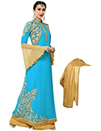 Shoppingover Embroidered Anarkli Suit in Sky Blue & Tan Color with lace