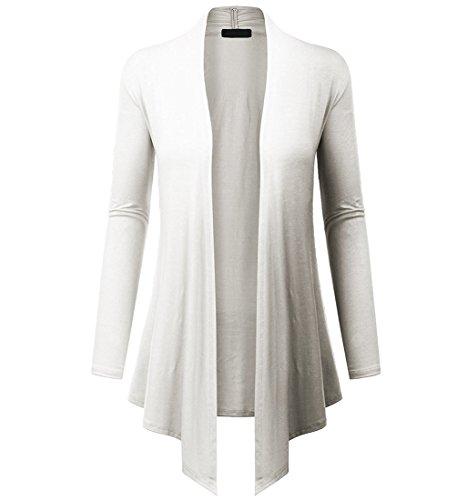 Lymanchi Damen Offene Strickjacke Asymmetrisch Cardigan Lang Strickmantel Langarmshirt Weiß L