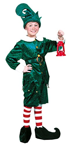 Karneval-Klamotten Weihnachtswichtel Weihnachtself Weihnachtshelfer Kostüm grün Kinder Jungen Mädchen Oberteil, Hose, Gürtel Mütze Größe ()
