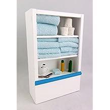 Miniatura Armario de Baño y Accesorios Madera Blanca para Casas de Muñecas Accesorios para Baño Escala 1:12