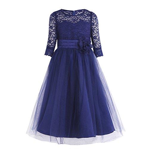 Tiaobug Kinder Mädchen festliche Kleider Prinzessin lang halbarm Blumenmädchenkleider...