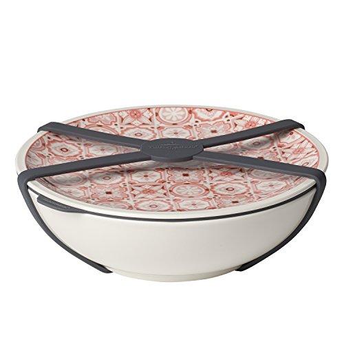 Villeroy & Boch To Go Rosé Schale L, 4-teilig, Premium Porzellan/Silikon, Weiß/Pink Schale Rosen