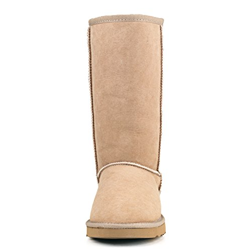 Shenduo Bottes femme cuir de mouton, Boots fourrées hiver Hautes doublure chaude en laine DV5815 Sable