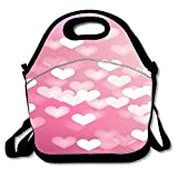 Pzeband Twinkle Pink Hearts Light Insulated Lunch Bag Tote Reusable Waterproof School Picnic Carrying Gourmet Lunchbox Container Organizer