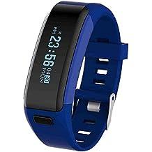 Elegante multifunción deportivo pulsera Bluetooth V4.0 buceo pulsera inteligente resistente al agua nivel del monitor Fitness Tracker Smartband podómetro sueño pulsómetro con pantalla táctil
