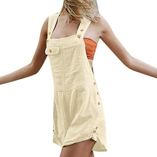 KIMODO® Damen Jumpsuit mit Knopf-Tasche, Lose Feste ärmellose Playsuit Einfarbig Sommer Shorts Lässig Overall