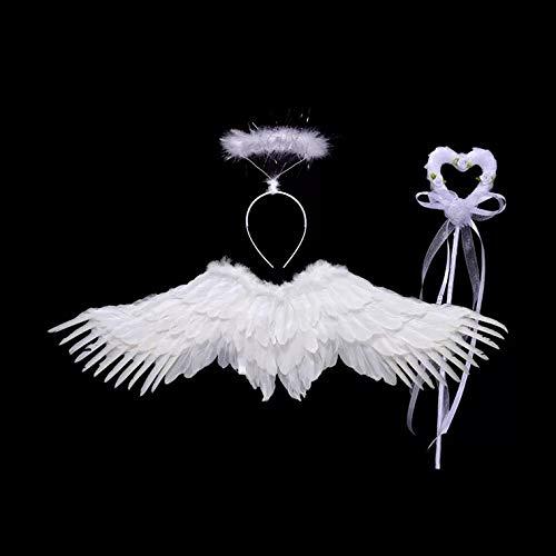 thematys Engel Kostüm 3-teilig Verkleidungs-Set für Kinder in 2 Flügel, Haarband und Zauberstab perfekt für Fasching, Karneval & Cosplay (Weiß)