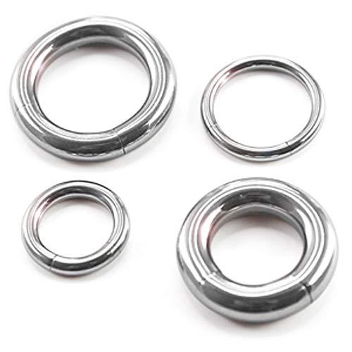 Treuheld® | 4mm x 10mm Segmentring Piercing Ring | Chirurgenstahl | Dick | Silber | Intimpiercing für Frau und Mann, Septum, Ohr, Lobe, Nase, PA