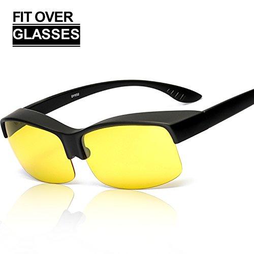 SIPHEW Nachtsichtbrille Autofahren für Brillenträger, Gelbe Linse Anti-Glanz Fahren Brillen, Kontrast-Brille Nachtfahrbrille polarisierte (Schwarz)