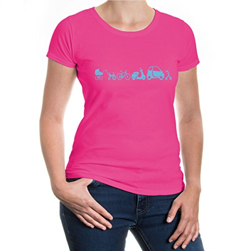 buXsbaum® Girlie T-Shirt Evolution of vehicle Fuchsia-Skyblue