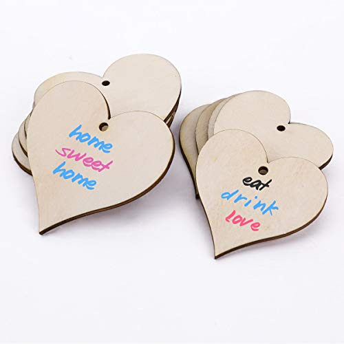SurePromise 25x Wooden Love Hearts Shapes Embellishments Hanging Craft