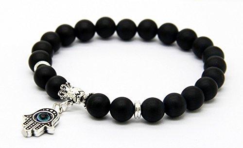 good. Designs Chakra creer perlas pulsera de perlas de lava/Onyx/cuarzo rosa/granate de piedras natural, la mano de Fátima/Cruz/colgante de OM, mano Mala, Onyx / Silber-Anhänger