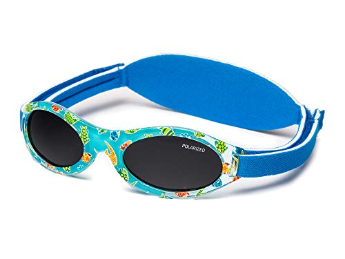 Kiddus Sonnenbrille Baby PREMIUM für Jungen und Mädchen Alter 0 Monate bis 2 Jahre MIT WEICHEM SILIKON, POLARISIERTEN GLÄSERN UND EINSTELLBARER SOFT BAND SUPER KOMFORTABEL | 100% UV-Schutz (06 Fisch)