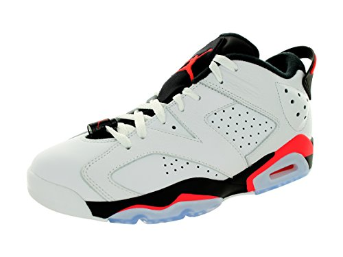 Nike Air Jordan 6 Retro Low, Chaussures de Sport-Basketball Homme, Noir Blanc / rouge / noir (blanc / infrarouge 23 - noir)