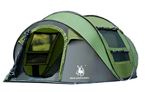 Ghlee 4-5 Person große Kuppelzelt automatische Pop up Zelt wasserdicht 2 Sekunden einfach einzurichten und zu falten - Extra Dark Interior Shelter für lässig Familie Wandern Reisen, grün (L * W * H 290 * 200 * 130CM)