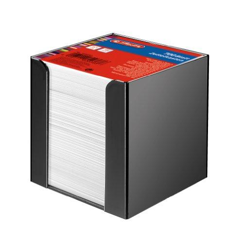 Herlitz 1600360 Zettelkasten 9x9x9cm schwarz 700 Blatt weiß gefüllt