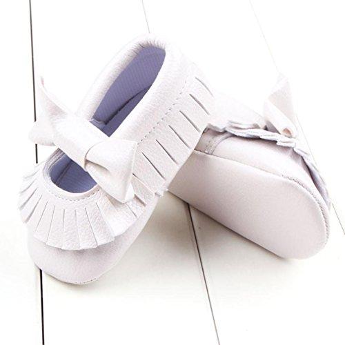 BZLine® Style souple Bébé Fille frange bowknot Chaussures de premier pas en PU cuir, Couleur unie (12~18Mois, Argent) Blanc