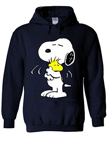 Snoopy PEANUTS Cartoon Happy Cute Navy Men Women Unisex Hooded Sweatshirt Hoodie-M