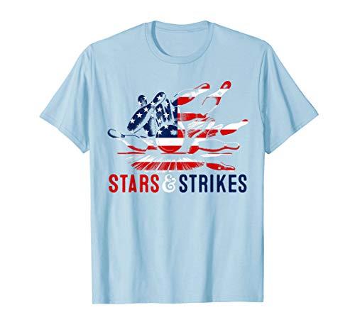 e26c2ebb vintage bowling apparel. Patriotischer 4. Juli Bowler | Retro Stars & Strikes  Bowling T-Shirt