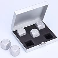 Vzer 5 in 1 Precision Aluminum Alloy Solid Metal Dices Poker Party Game Toy Portable Dice Man Boyfriend Gift (Silver square)