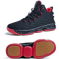 Zapatos Hombre Deporte de Baloncesto Sneakers de Malla para Correr Zapatillas Antideslizantes Negro Rojo Champán Verde Brillante 36-46 Negro Rojo 45