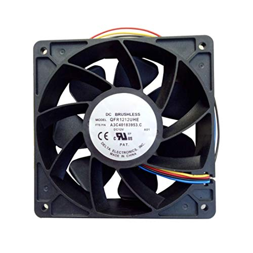 HLHN 7500RPM Computers Cooling Fan Replacement 4 Pin Connector for Antminer  Bitmain S7 S9 (Black, 117x83x37mm)