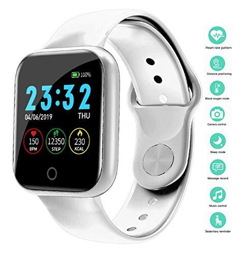 Smartwatch Wasserdicht IP67 Smart Watch Uhr mit Pulsmesser Fitness Tracker Sport Uhr Fitness Uhr mit Schrittzähler,Schlaf-Monitor,Stoppuhr,Call SMS Benachrichtigung Push für Android und iOS (Weiß)