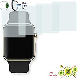 4x Disagu ClearScreen Overlay Screen Protector for Apple Watch 38mm-Anti-Bacterial edition Bluel Light Cut Filter (Deliberately Smaller than Display due to Curved Shape)