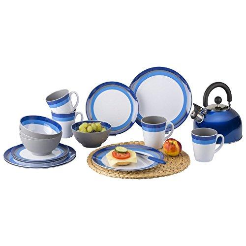 Berger Melamin Blueline leichtes Camping Geschirrset blau grau 16 teilig für 4 Personen 4 Henkelbecher 4 Dessertteller 4 Essteller 4 Müslischalen
