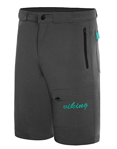 viking Kurze Hose Damen - Outdoor Short für Trekking, Radfahren, Wandern - schnelltrocknend und elastisch - inkl. Gürtel - Dolomite Lady, Grau, S