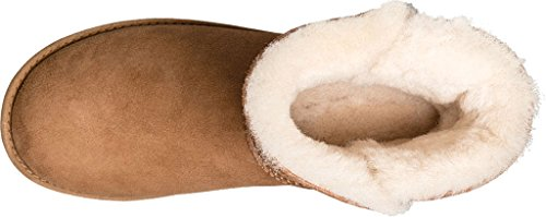 Stivaletto UGG Classic Cuff Mini in pelle scamosciata cuoio Braun