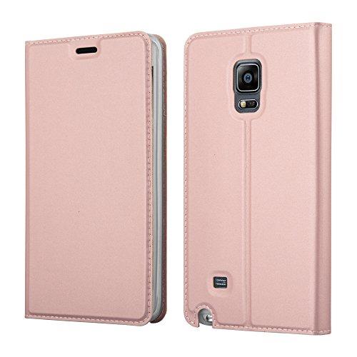 Cadorabo Hülle für Samsung Galaxy Note Edge - Hülle in ROSÉ Gold – Handyhülle mit Standfunktion und Kartenfach im Metallic Look - Case Cover Schutzhülle Etui Tasche Book Klapp Style
