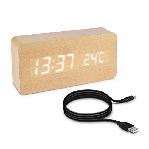 kwmobile Wecker Uhr in Holzoptik digital - Digitalwecker Anzeige von Uhrzeit Temperatur Datum - Alarm Clock mit USB Kabel in Birke mit weißen LEDs