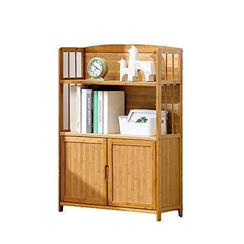 Einfache Multi-Layer Mit tür Bücherschrank, 3-4-tier Bodenstehende Lagerregal Moderne Massivholz Kinder Student Bücherregal-B 70X25X95cm