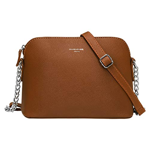 David Jones - Piccola Borsa a Tracolla Spalla Donna Catena - Borsa Mano PU Pelle Messenger Crossbody Bag - Clutch Borsetta Sera Pochette Moda Elegante - Shopping Viaggio Sacchetto Borsello - Cammello