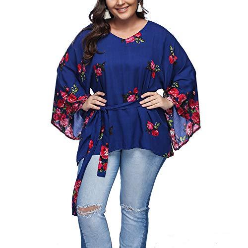 Lover-Beauty Damen Tshirt Große Größen Elegant Langarm Blumen Casual V Ausschnitt Tunika Bluse Sweatshirt Hoodie Top Oberteile Oversize Beauty T-shirt Sweatshirt