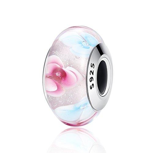 Lily jewelry colorato, motivo floreale in vetro di murano pandora in argento sterling 925per pandora braccialetti europei