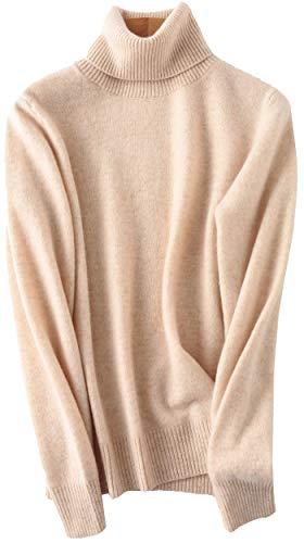 PHELEAD Damen 100% Merinowolle Pullover Kaschmir Winterpullover mit hohem Stehkragen aus Langarm Rollkragenpullover Slim warm Strick Sweater (M, Beige)
