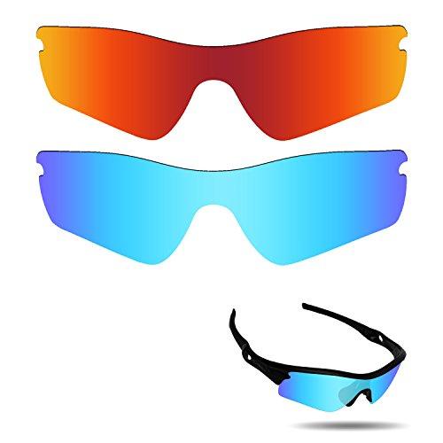 Fiskr Anti-Saltwater Polarisierte Ersatz Gläser für Oakley Radar Path Sonnenbrille 2Paar Verpackt, Fire Red & Ice Blue