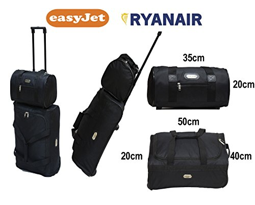 2-piece-ryan-air-easy-jet-cabin-approved-holdall-on-wheels-travel-bag